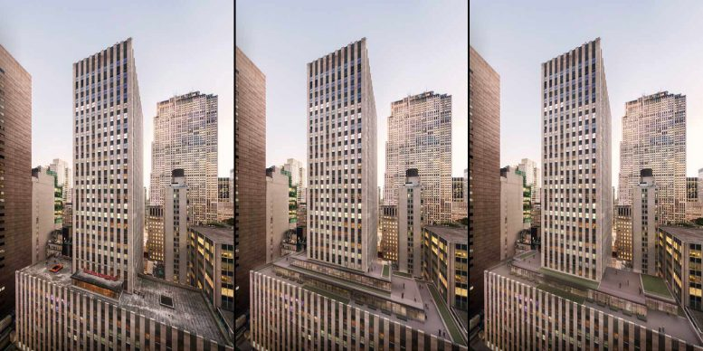 75 Rockefeller Plaza - existing conditions, previous proposal, and revised proposal