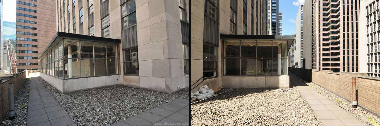 Existing condition of 10th floor extension at 75 Rockefeller Plaza