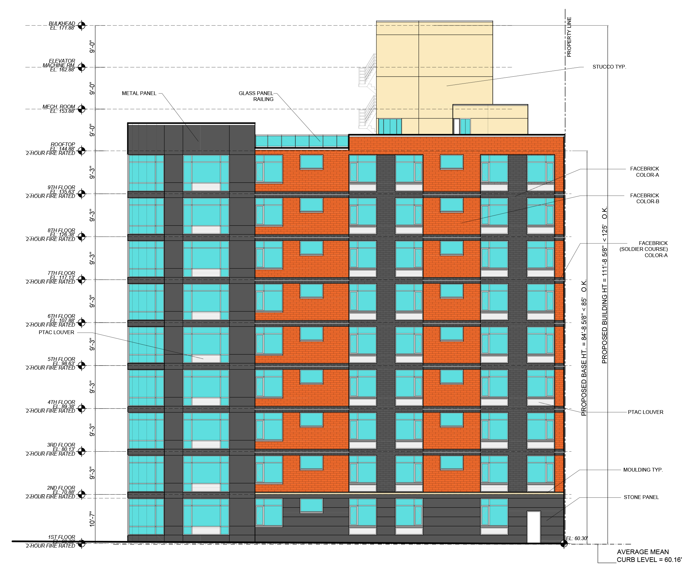 Schematic of Park Avenue elevation, 4729 Third Avenue