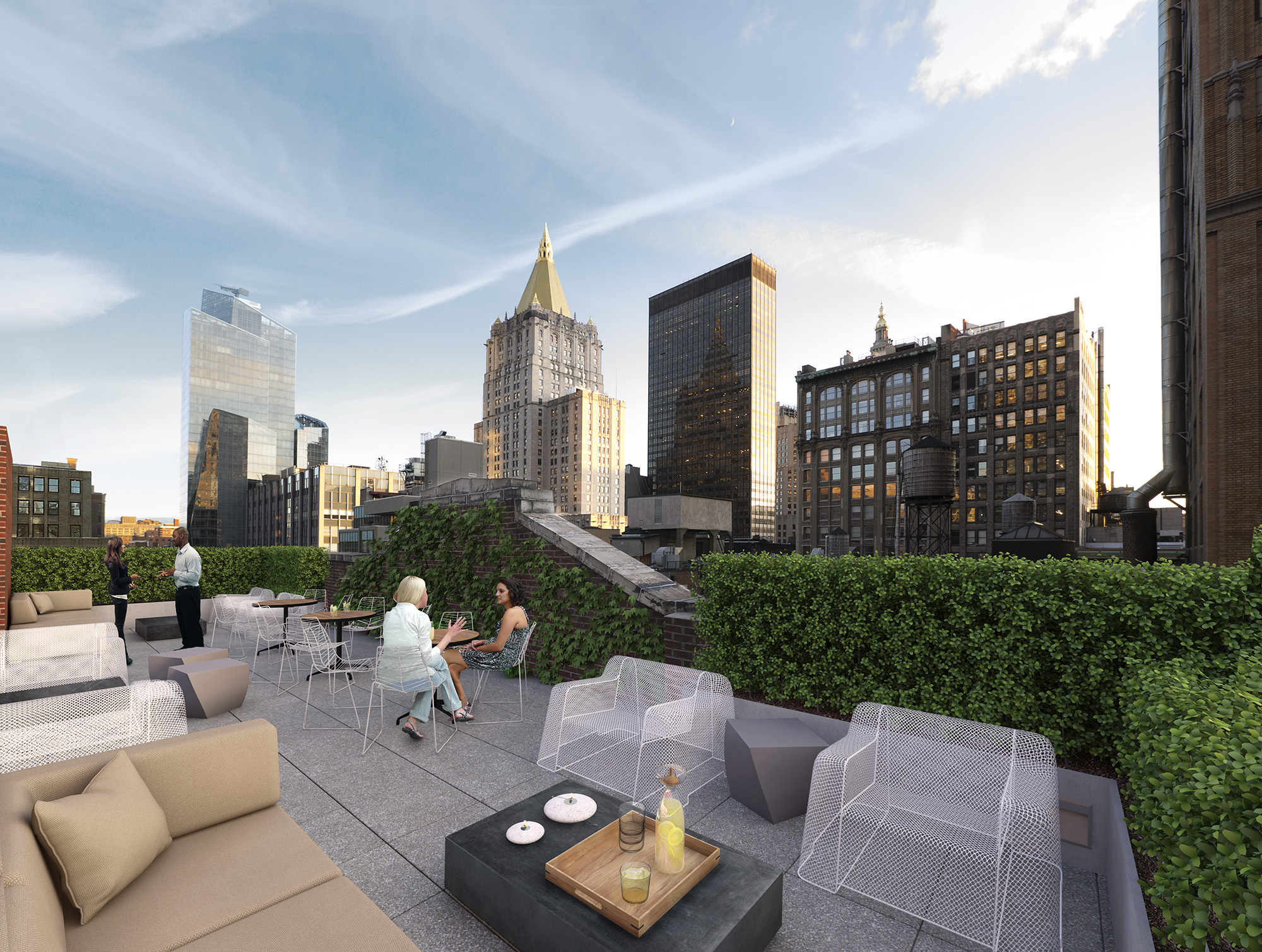 Rendering of roof deck at renovated 3 East 28th Street. Credit: Winter Properties/Morris Adjmi Architects