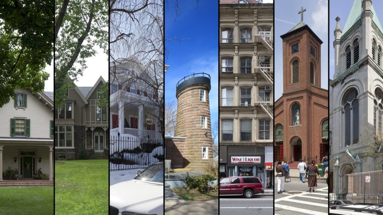 The seven backlog properties designation by the Landmarks Preservation Commission on June 28, 2016. LPC photos