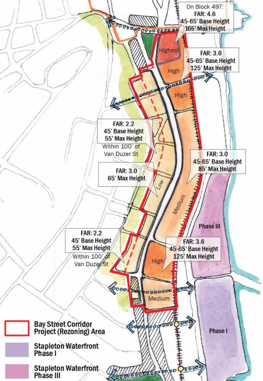 Map of the planned Bay Street corridor rezoning, via DCP