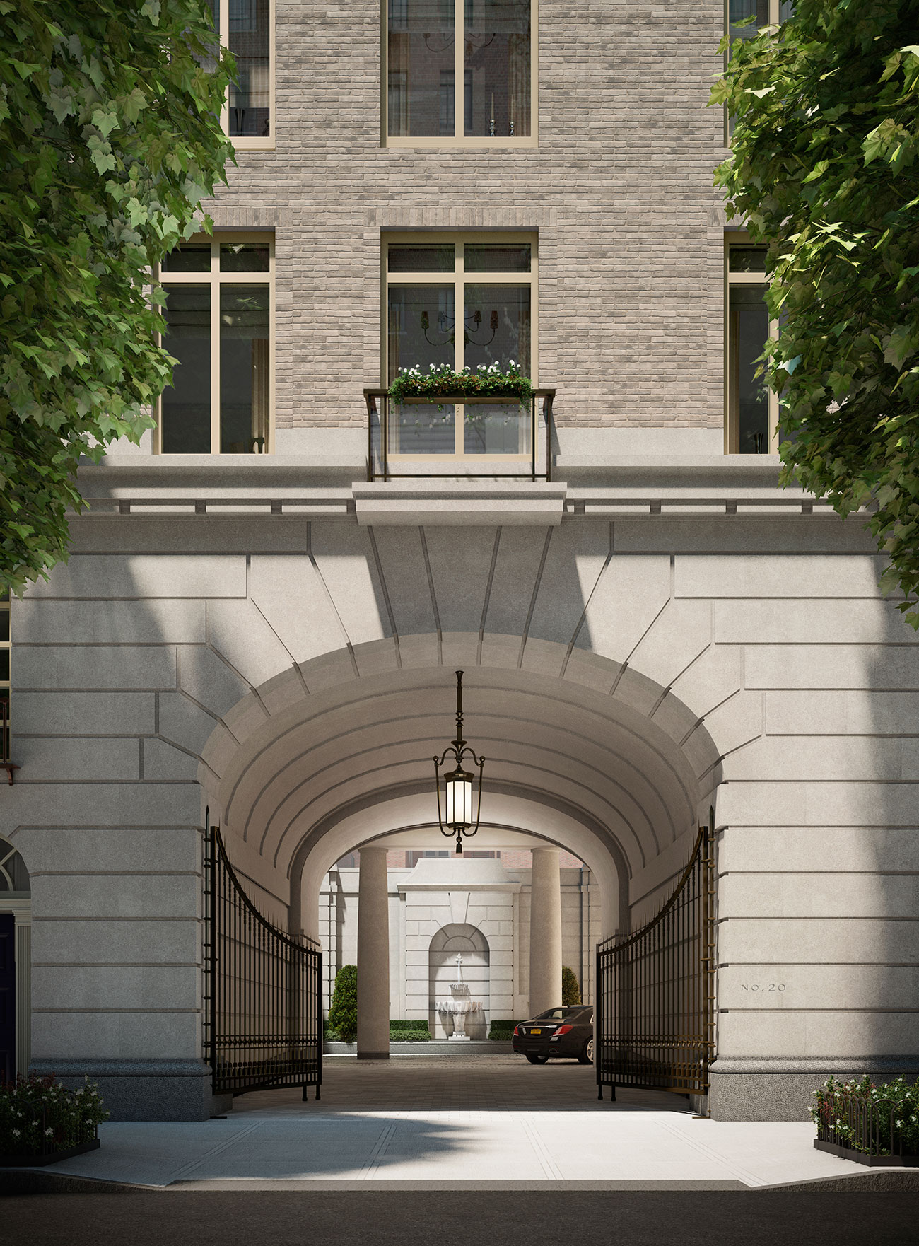 Rendering of the porte-cochère at 20 East End Avenue
