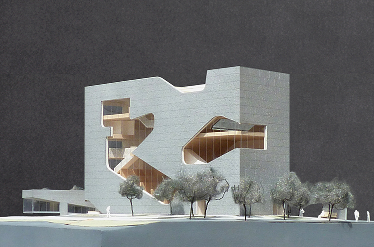 Model of Hunters Point Library via Steven Holl Architects