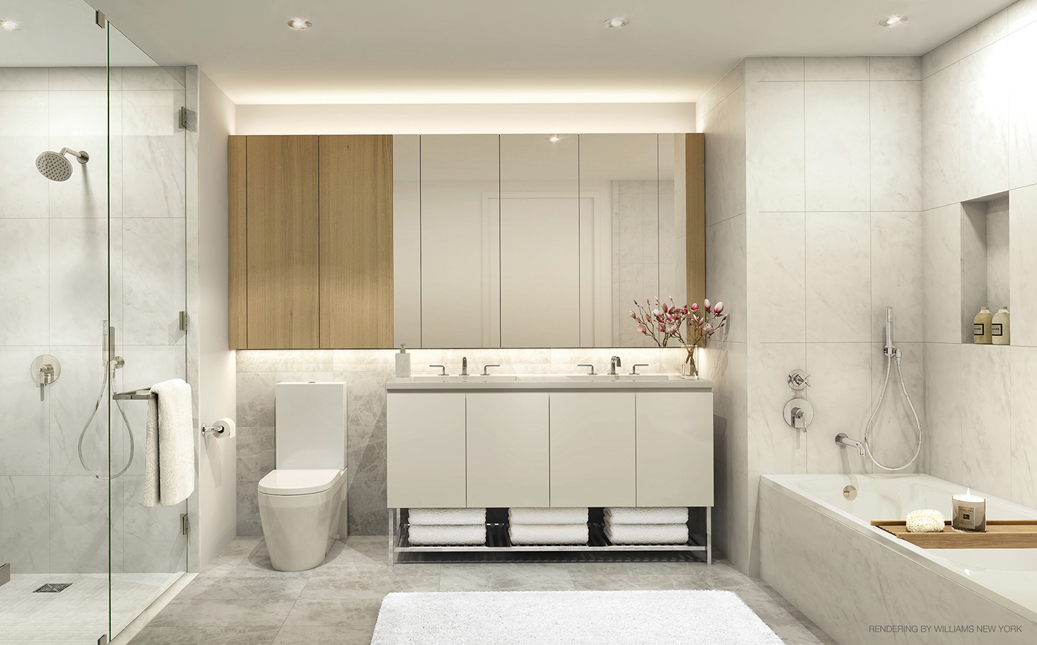 Rendering of a master bathroom at 196 Orchard Street. Credit: Williams New York
