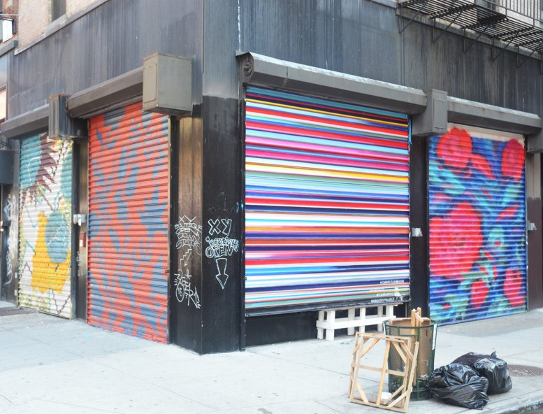 Examples of 100 Gates at 81 Hester Street. From left to right, artwork by Kim Carlino, Oksana Prokopenko (unfinished), Chamberlin Newsome, and Oksana Prokopenko. All photographs by the author