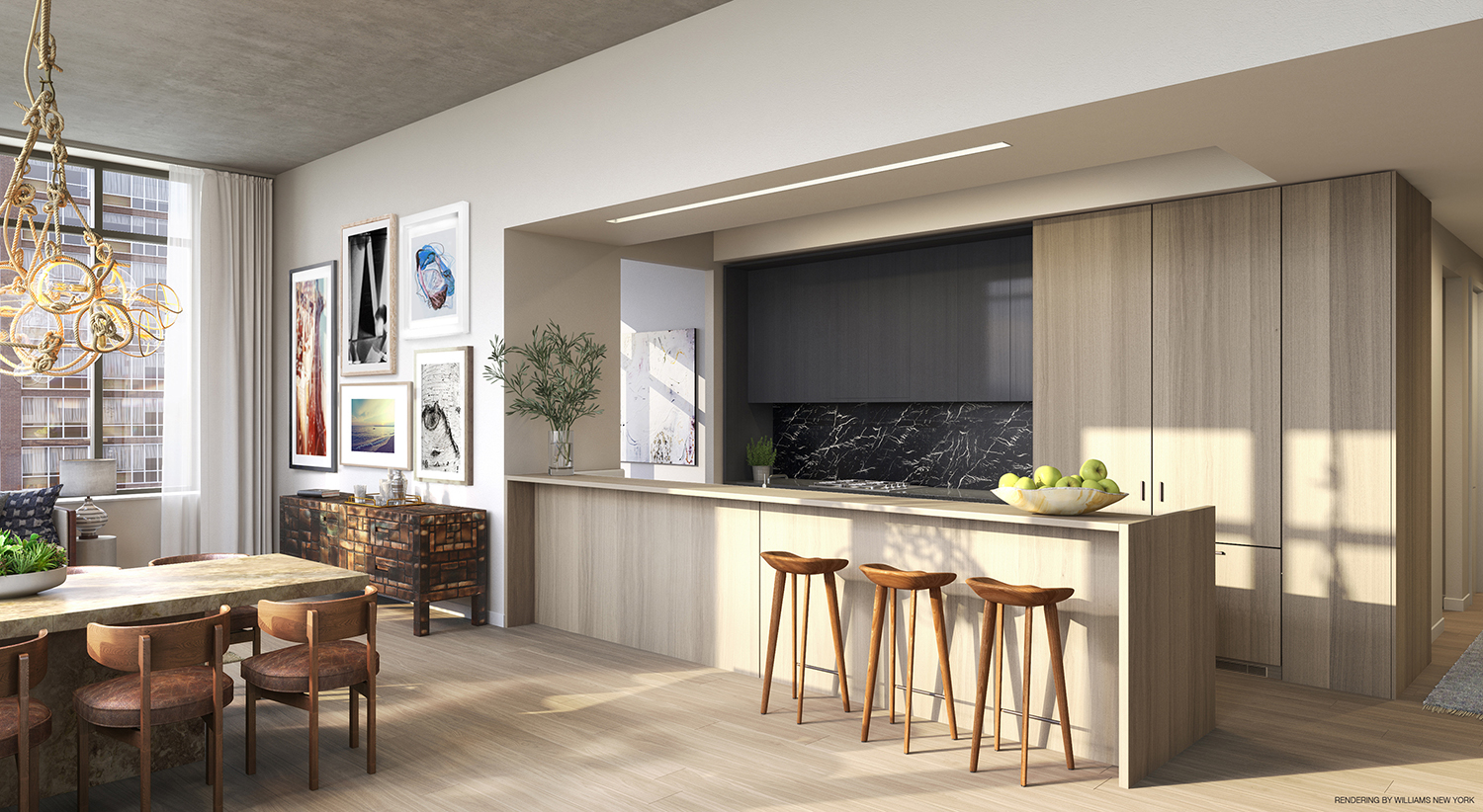 Rendering of a kitchen at 196 Orchard Street. Credit: Williams New York