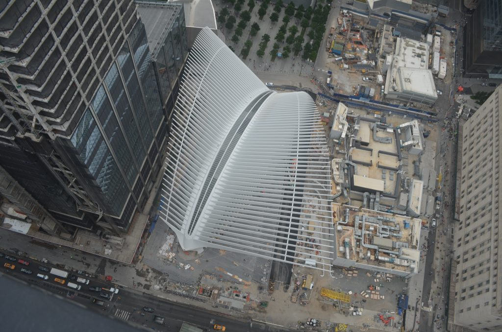 Transit Hub at center and Two WTC's foundation at right