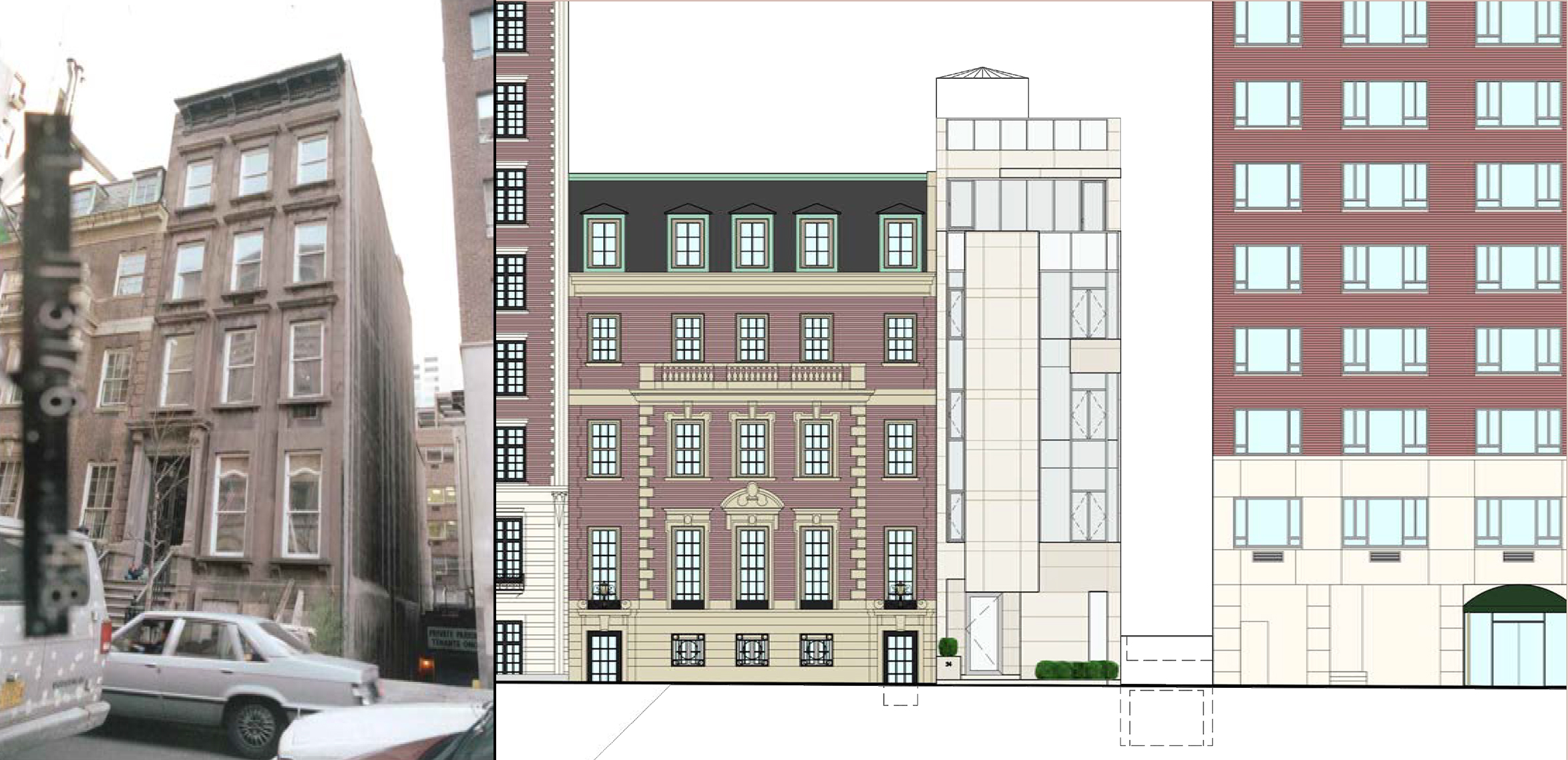 The now-destroyed occupant of 34 East 62nd Street and the 2007 proposal for the site