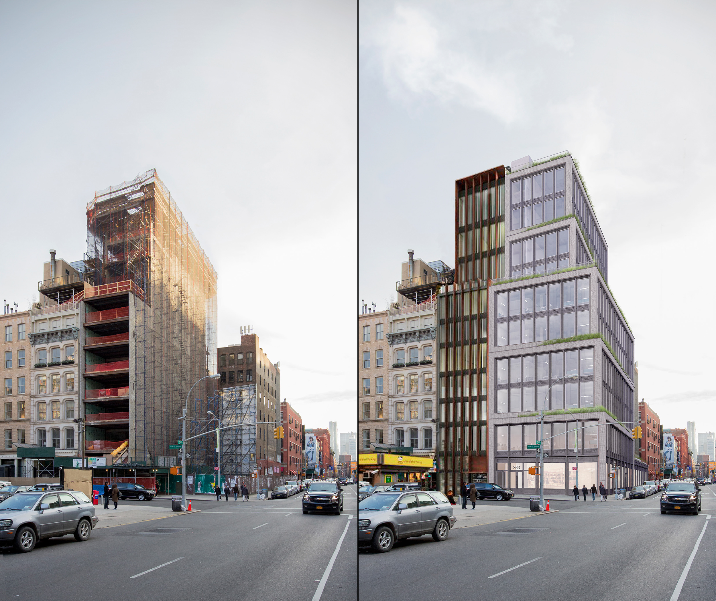 Existing and proposed conditions at 363 Lafayette Street