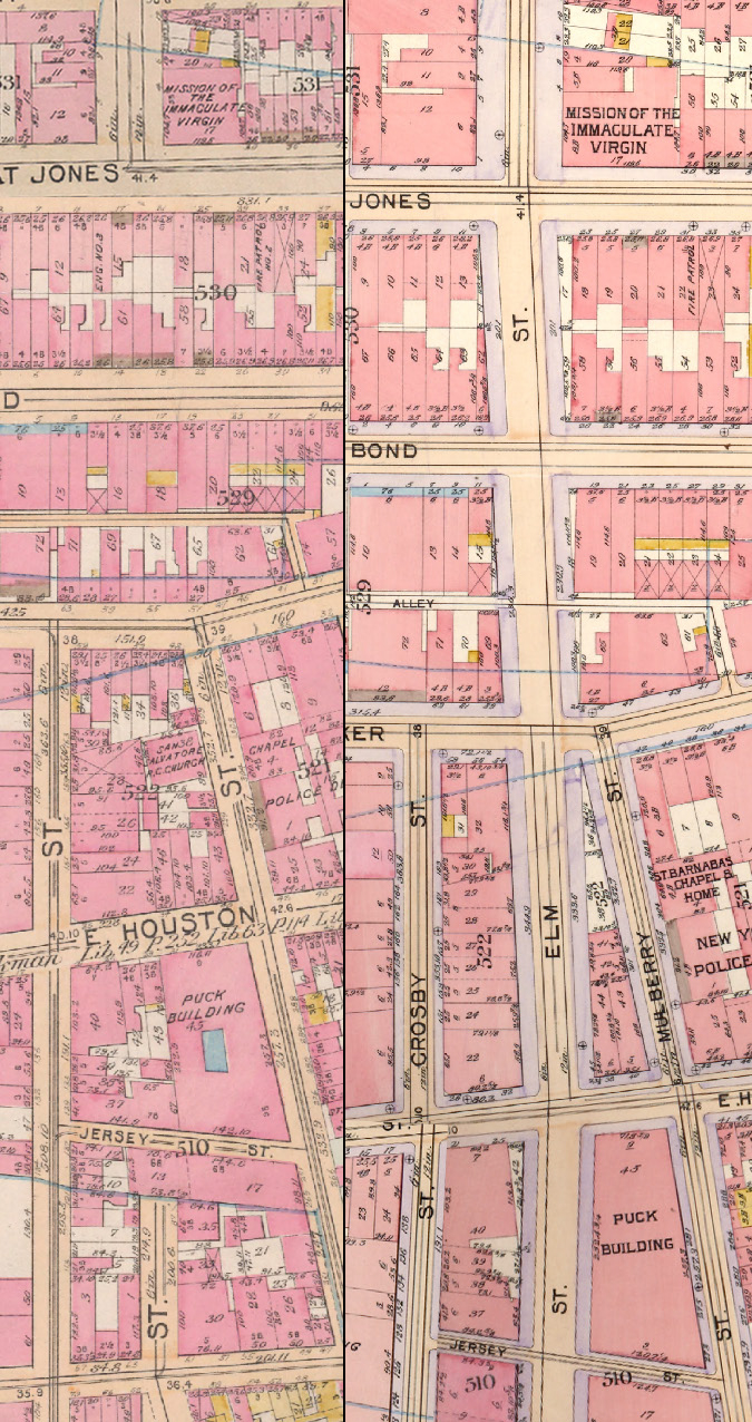 1897 Bromley Street Map and 1899 Bromley Street Map, showing the cut of what is now Lafayette Street