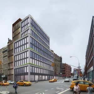 Proposal for 363 Lafayette Street by Morris Adjmi, rendered next with a completed 25 Great Jones Street, by BKSK Architects