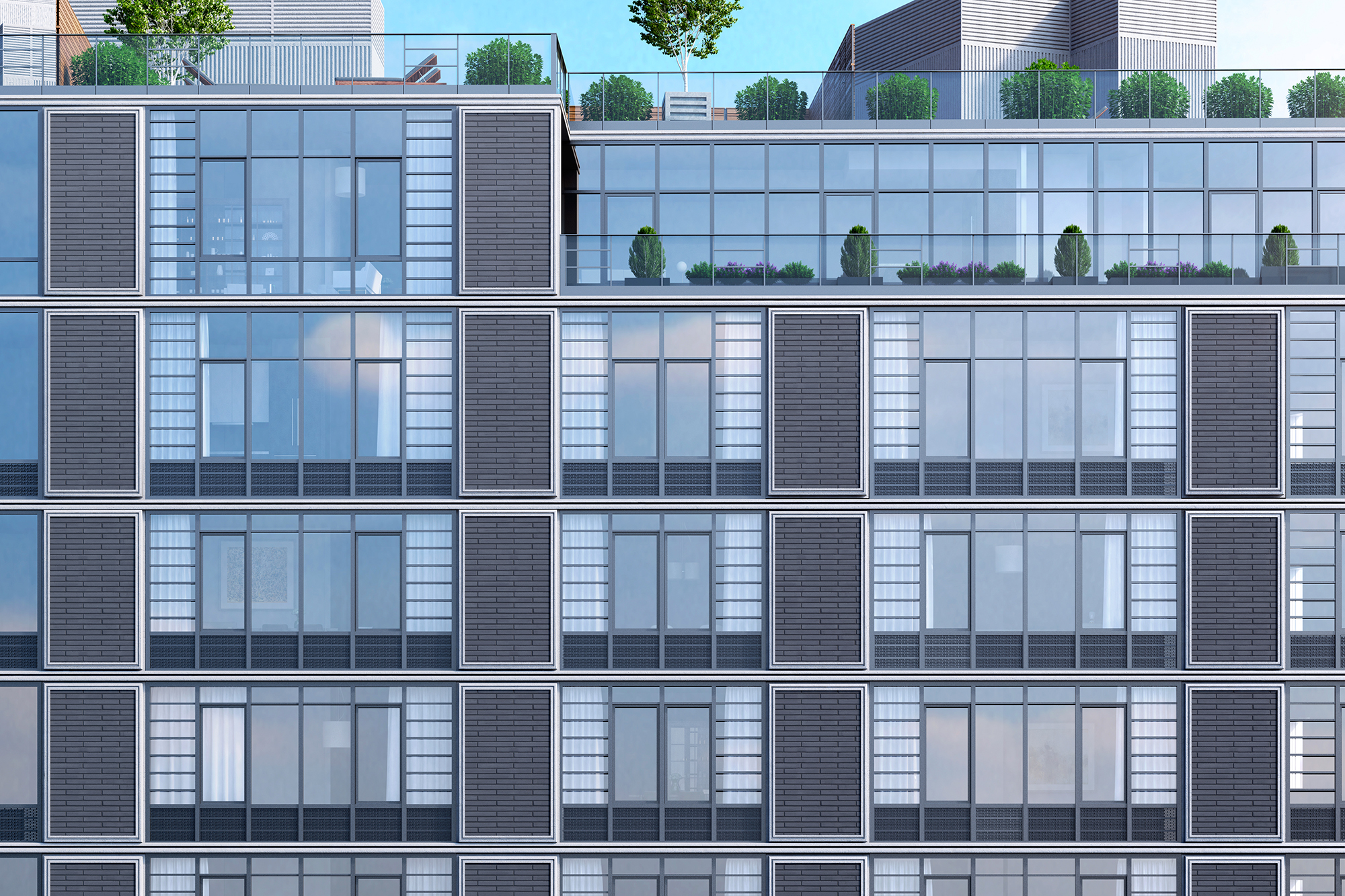 Rendering of facade detail at Waverly Brooklyn at 500 Waverly Avenue. Credit: Millarc