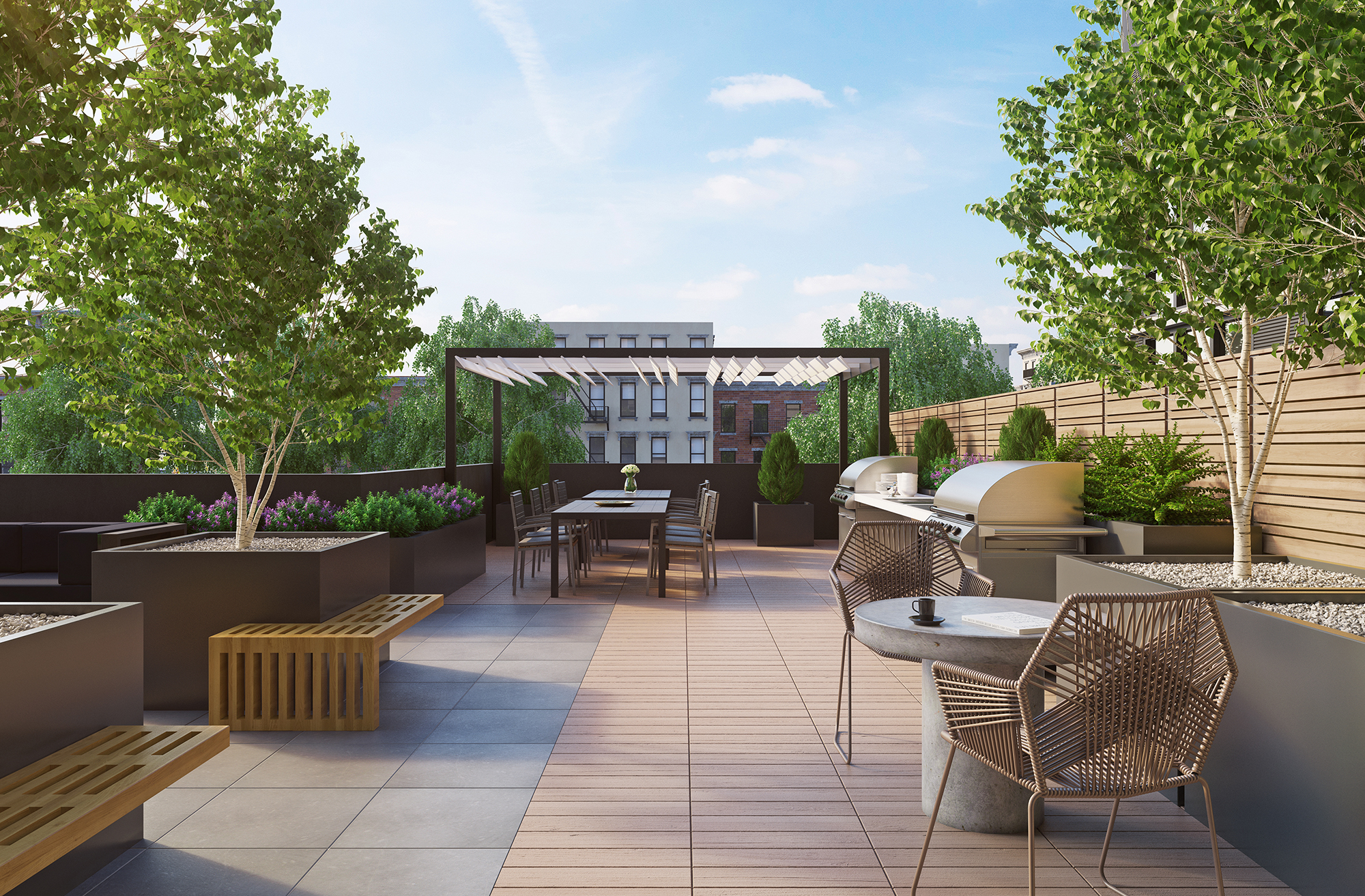 Rendering of garden terrace at Waverly Brooklyn, 500 Waverly Avenue. Credit: Millarc