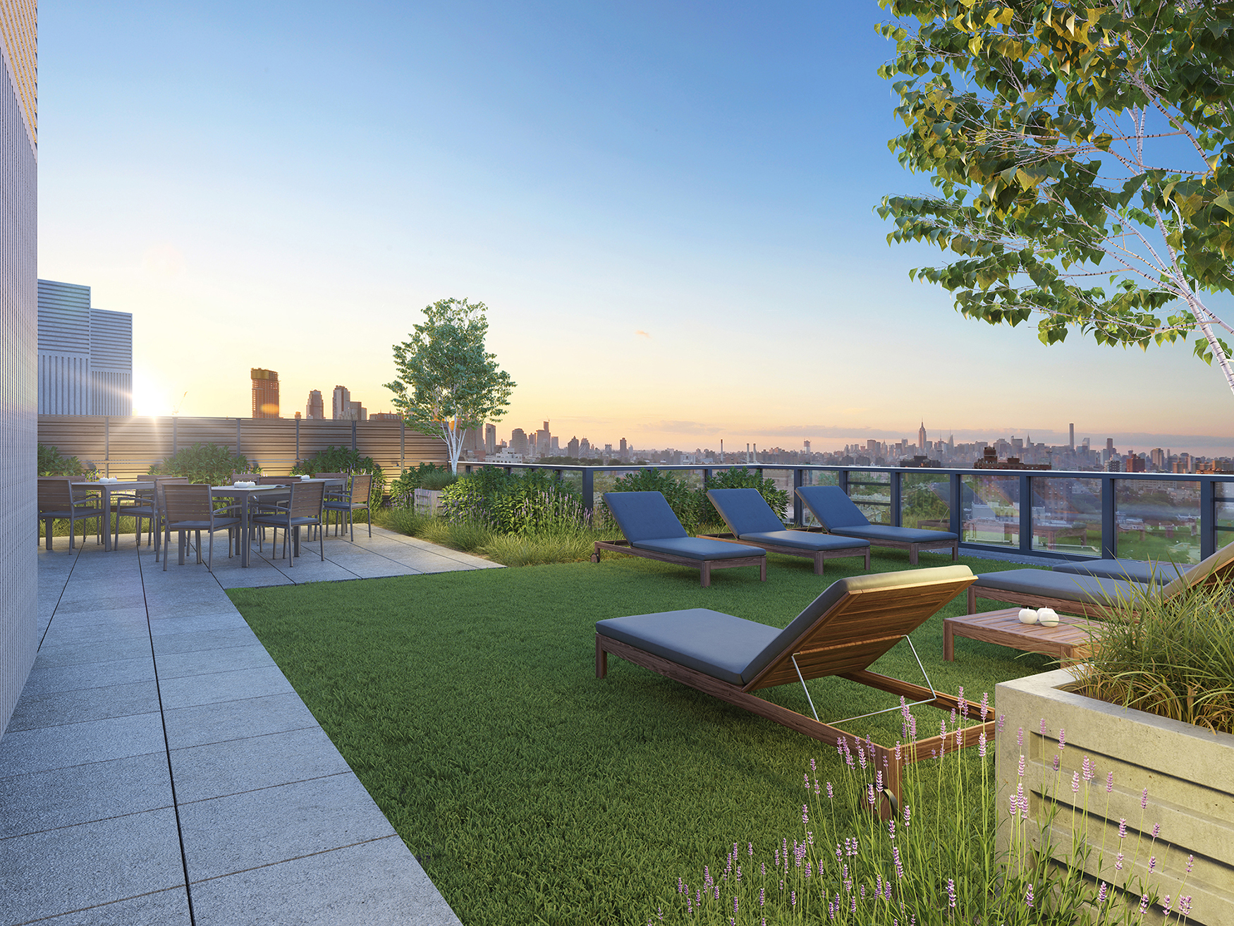 Rendering of roof terrace at Waverly Brooklyn, 500 Waverly Avenue. Credit: Millarc
