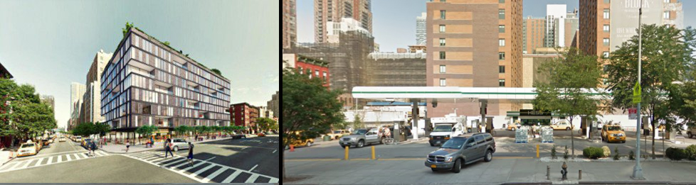 Future 615 10th Avenue at left, current site on right, via Google Maps