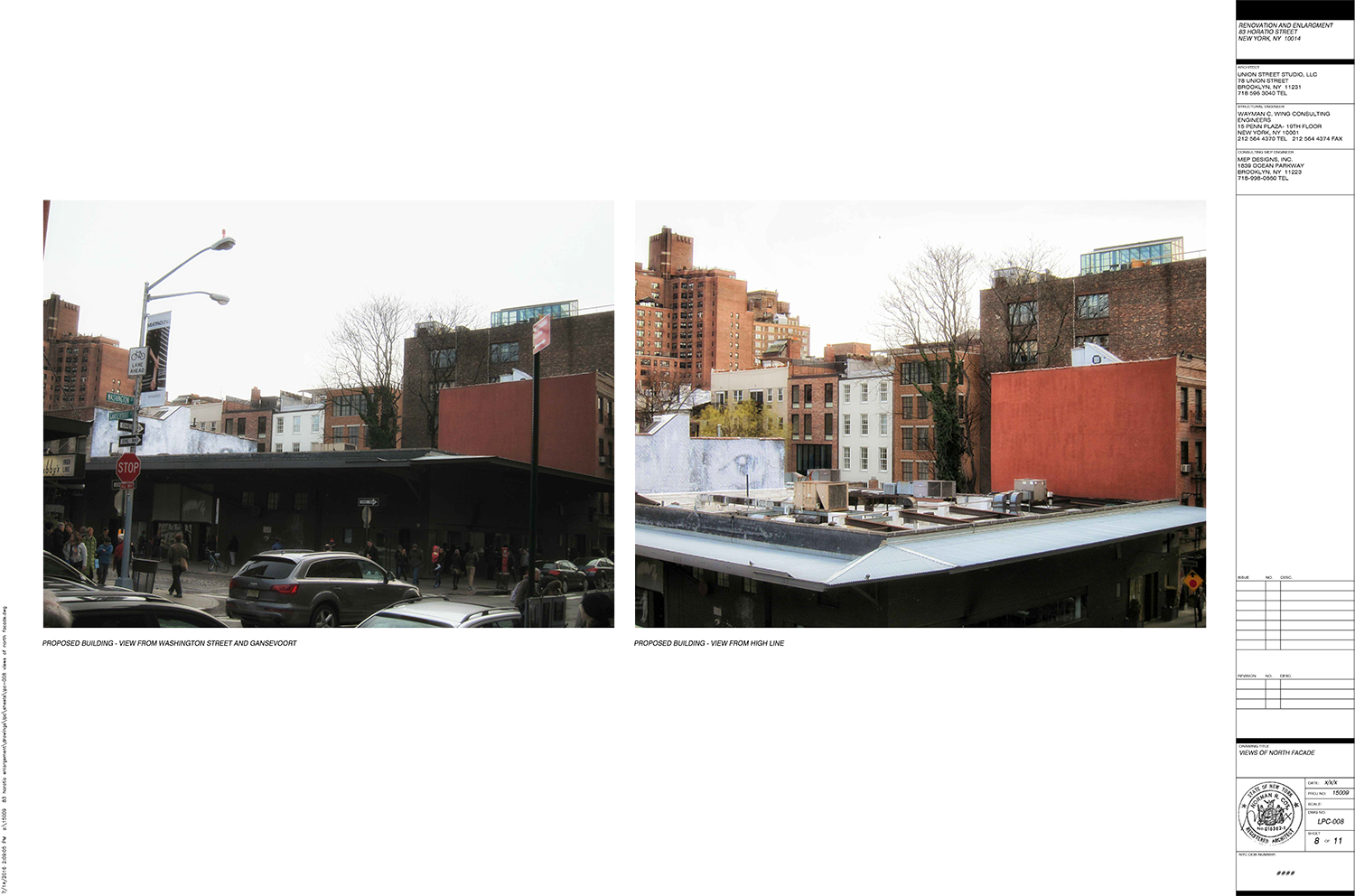 proposed expansion of home at 83 horatio street west village