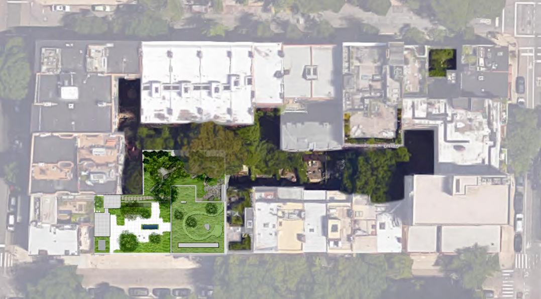 Aerial rendering showing proposed gardens at 85-89 Jane Street