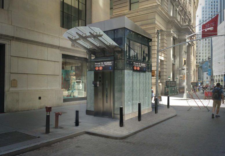 Rendering of east side elevator for Broad Street J/Z subway station