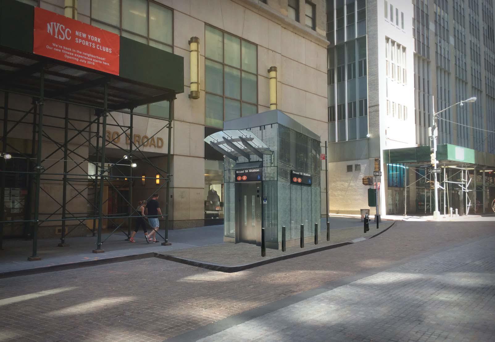 Rendering of west side elevator for Broad Street J/Z subway station