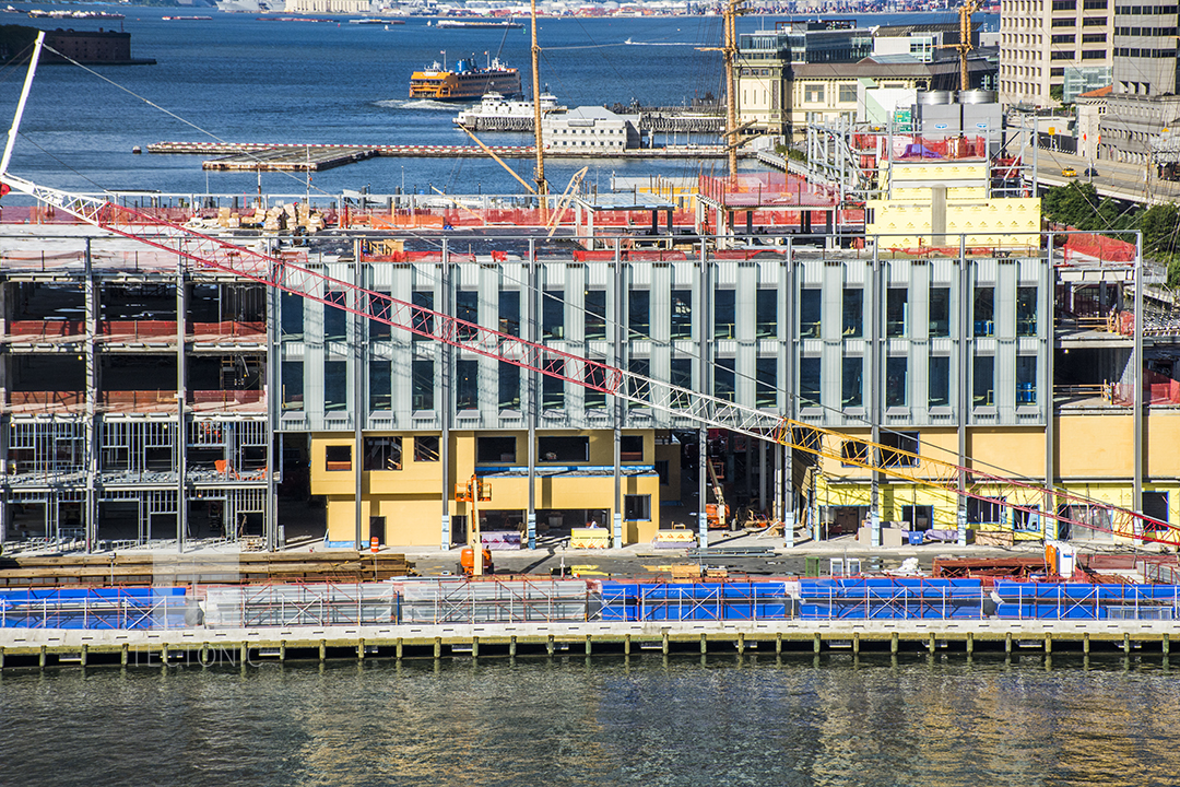 Construction at Pier 17 at the South Street Seaport, as seen from the Brooklyn Bridge. Photo by Tectonic