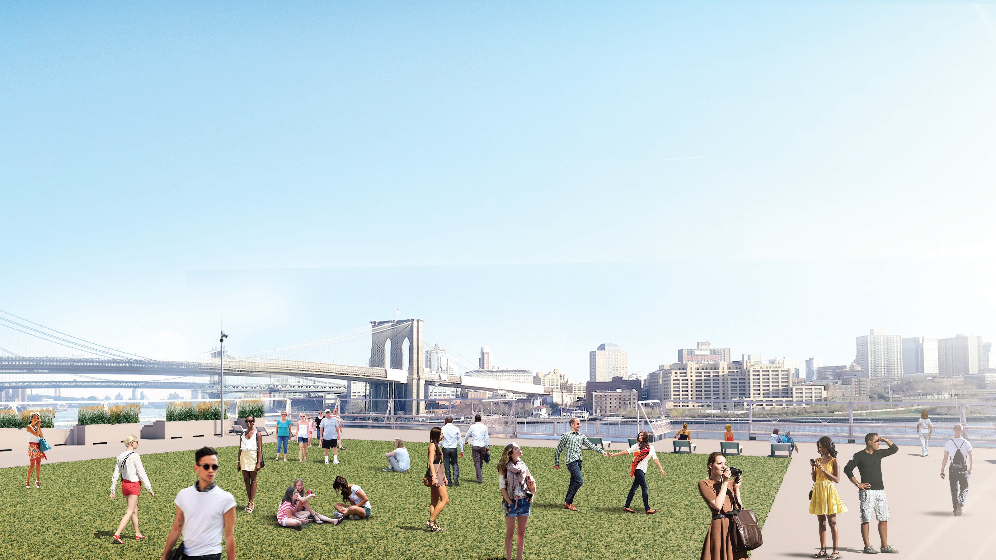 Rendering of the view from the roof of the new Pier 17