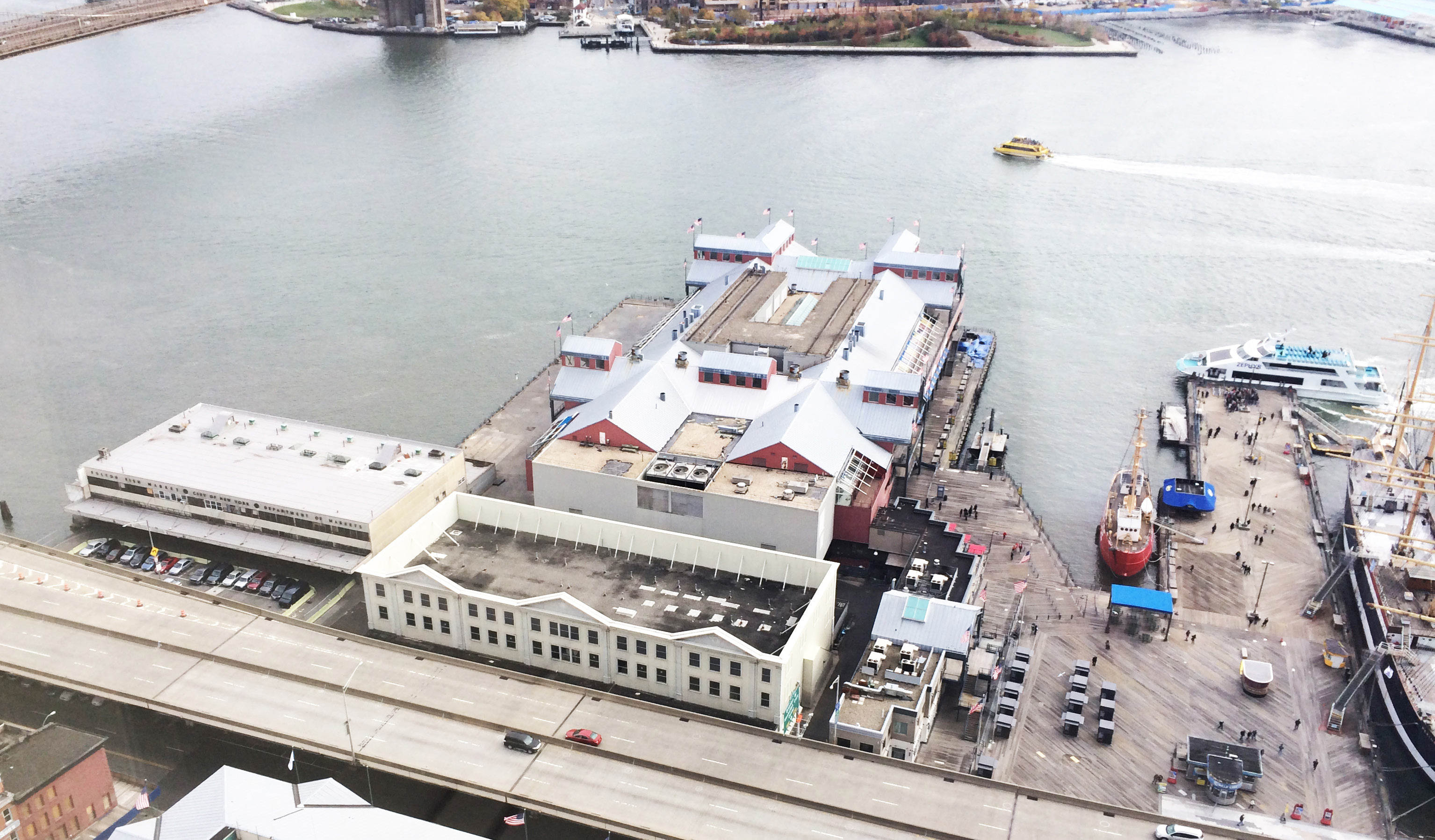 Pier 17, connected to its headhouse and the Link Building, in October of 2012. Also visible are the Tin Building and New Market Building. Photo via Howard Hughes Corporation