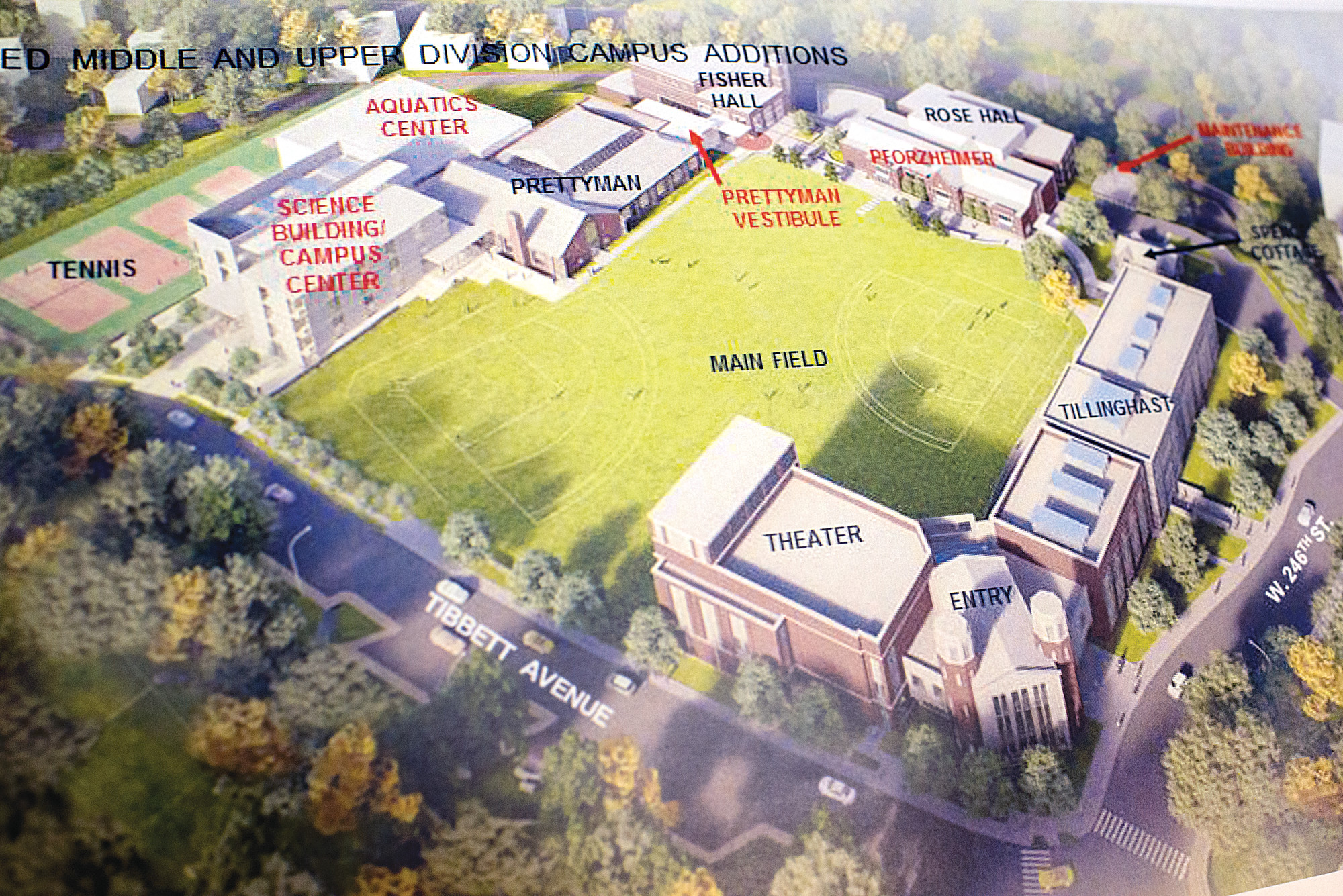 The plan for Horace Mann's expansion. photo via Riverdale Press