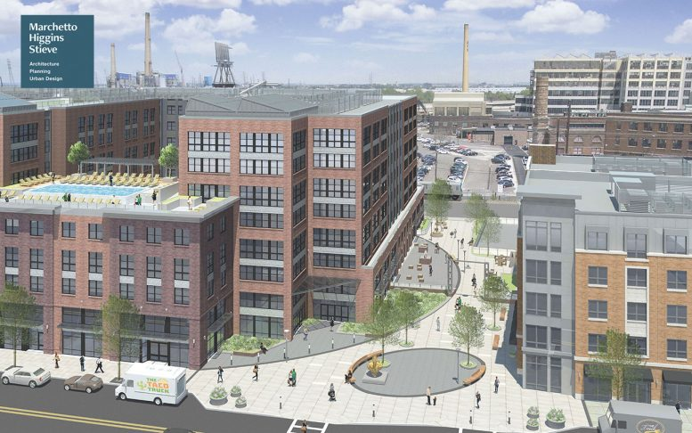 Former renderings of 1075 West Side Avenue - Rendering of West Side Square - Marchetto Higgins Stieve
