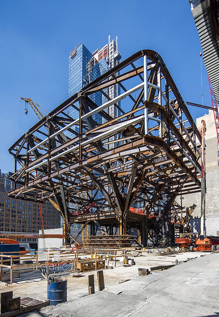 Construction of One Manhattan West. Photo by Tectonic via YIMBY Forums
