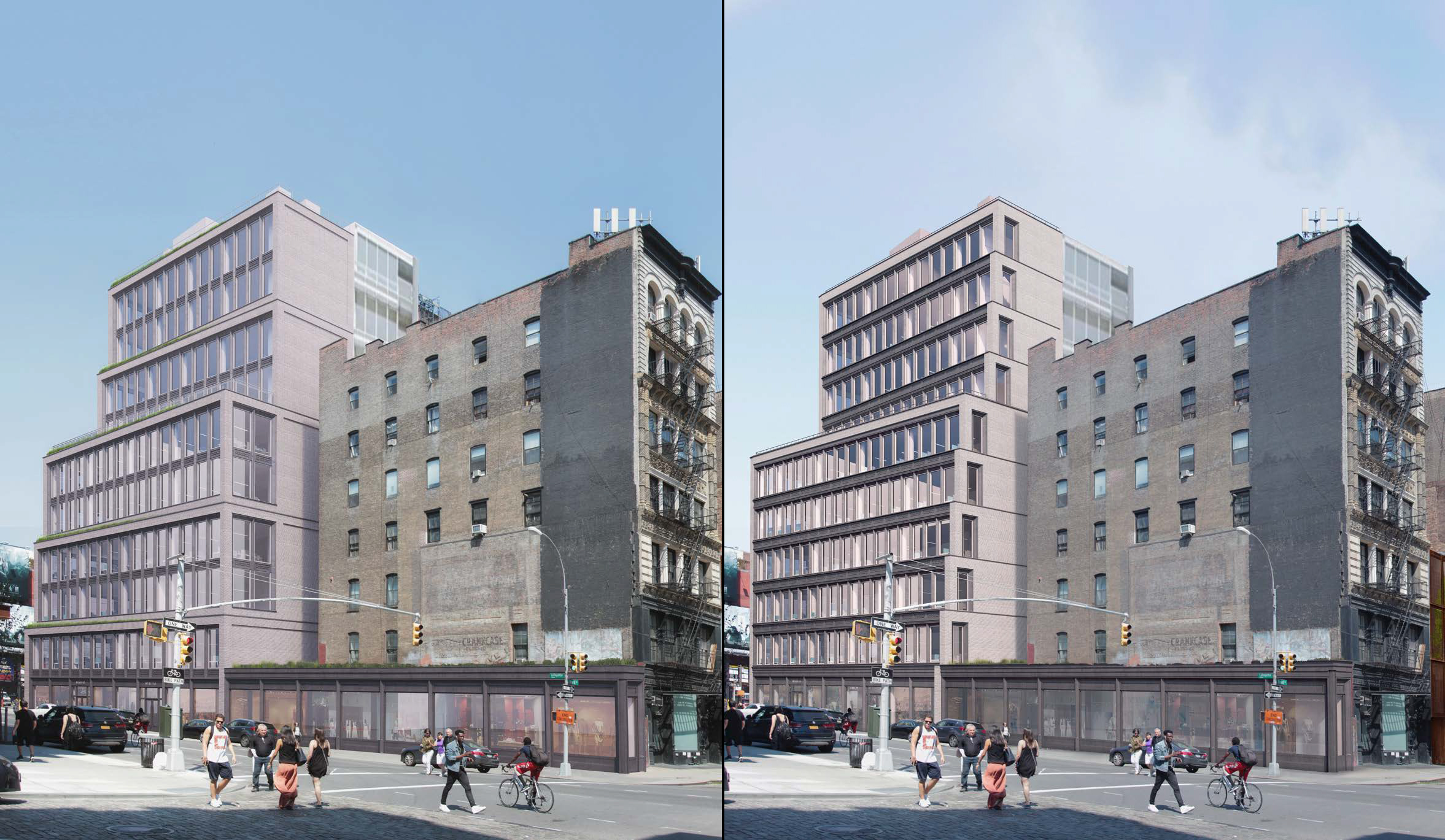 Proposals for 363 Lafayette Street, previous and revised