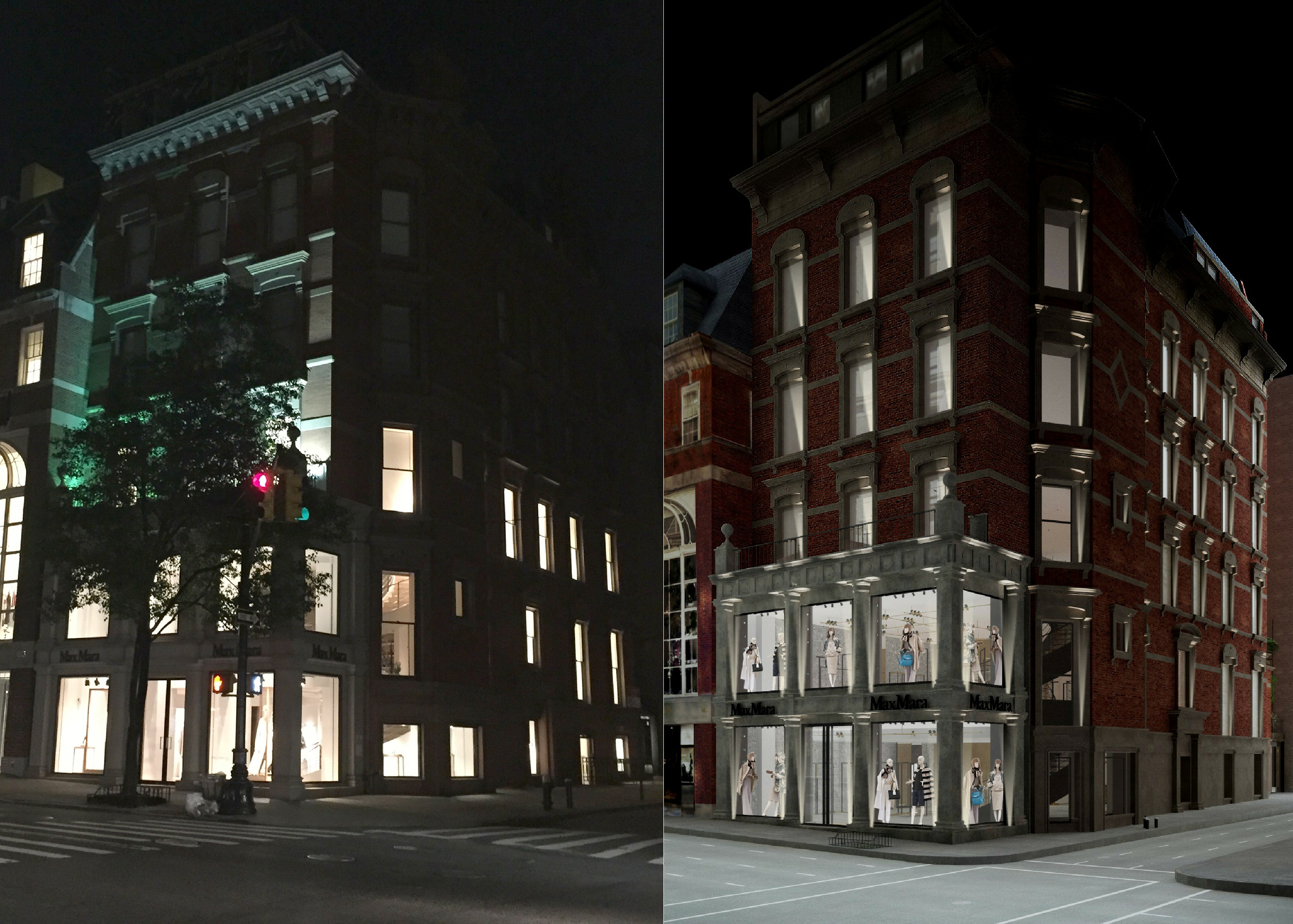 813 Madison Avenue at night, existing and proposed