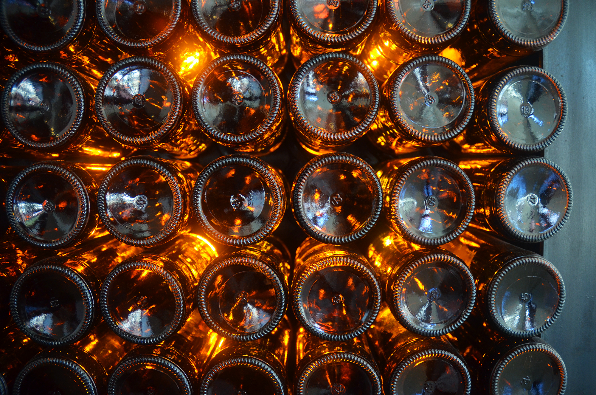 Wall bottles in lobby of 95 Evergreen Avenue