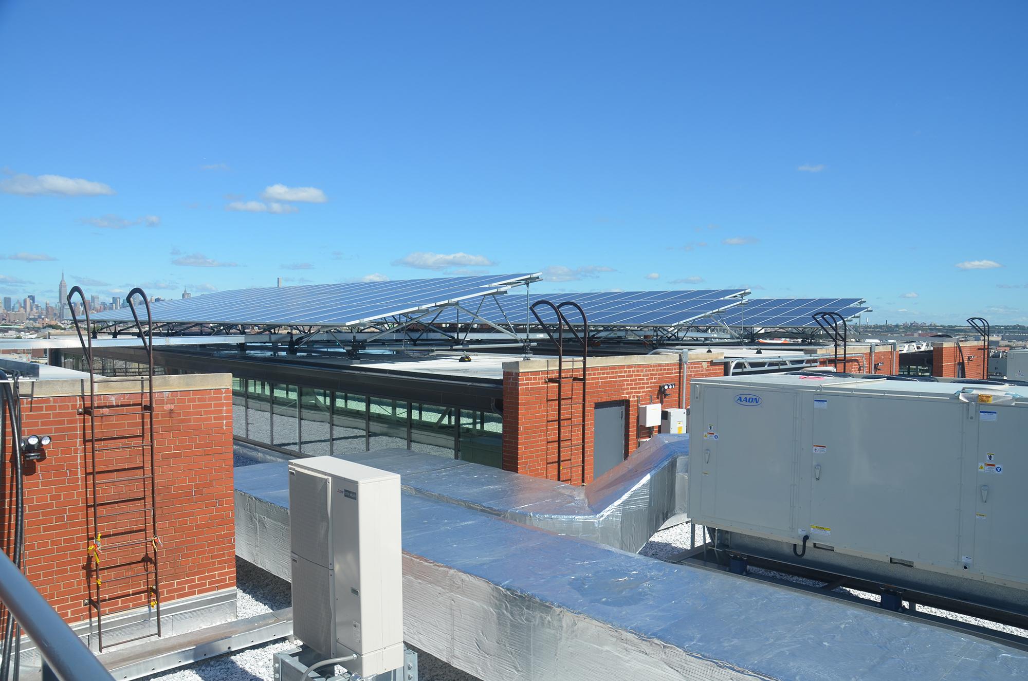 Solar panels atop 95 Evergreen Avenue