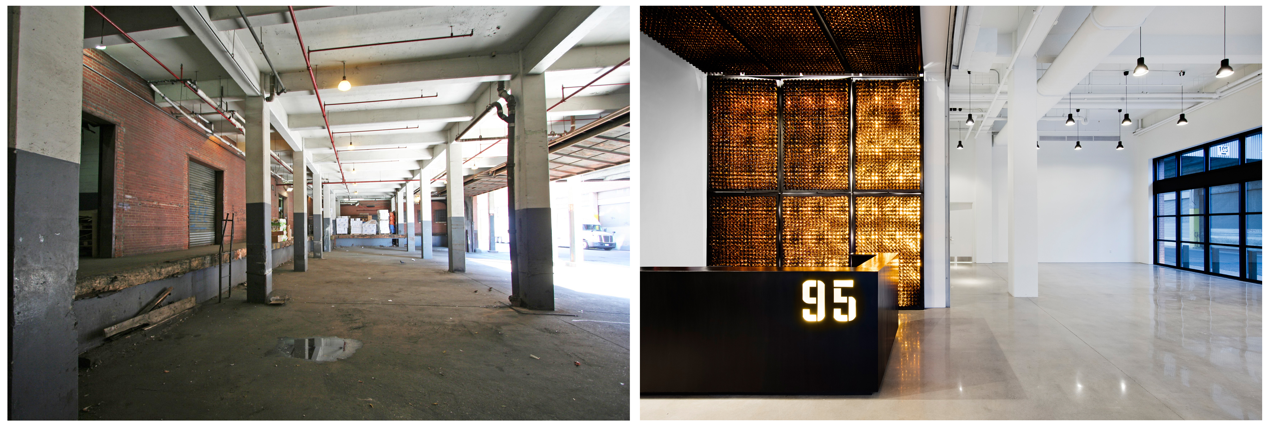 95 Evergreen Avenue, loading dock/lobby, pre-conversion and post-conversion. Photos by Connie Zhou