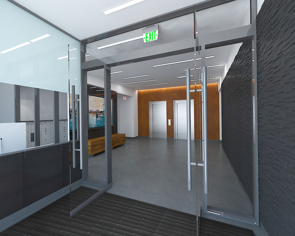 Lobby at 1017 Home Street, rendering by Body Lawson Associates