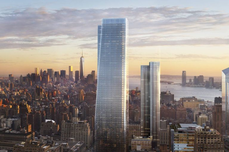 Rendering of One Manhattan West, with Three Manhattan West in the background