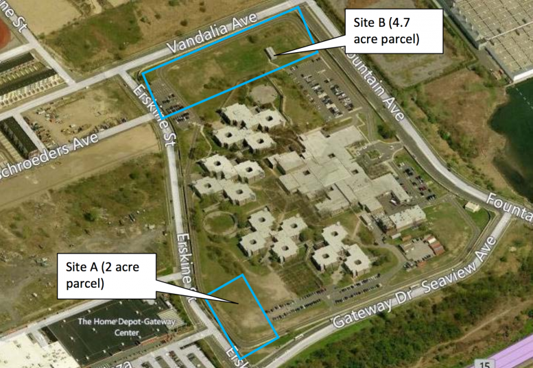 Two buildings will rise at 911 Erskine Street and 11629 Seaview Avenue on Site A, image via Empire State Development Corporation