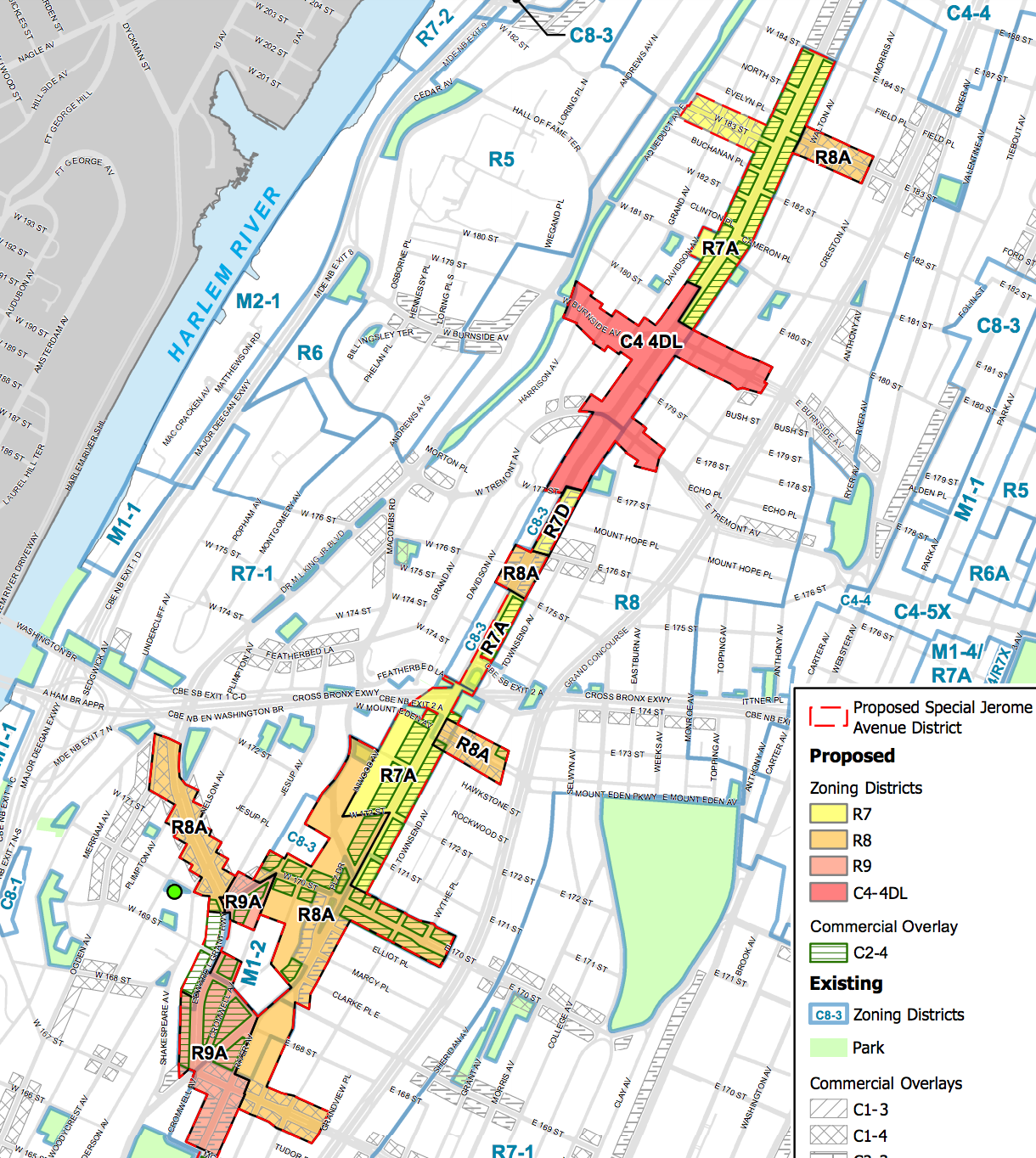 The proposed new zoning for Jerome Avenue, map by DCP