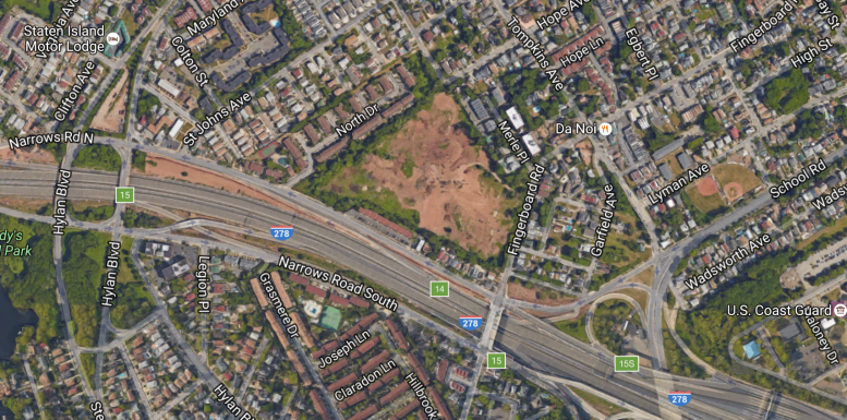 An aerial view of cleared Mount Manresa site, image via Google Maps