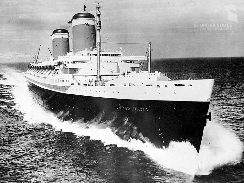 SS United States on her sea trials, June 10, 1952. Photo courtesy of Charles Anderson and the SS United States Conservancy