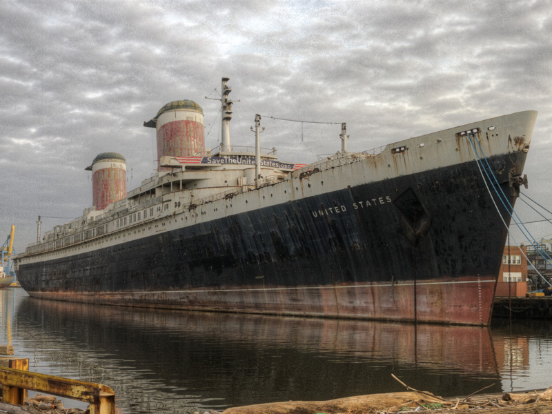 The SS United States seen across from her Philadelphia pier. Photo courtesy SS United States Conservancy