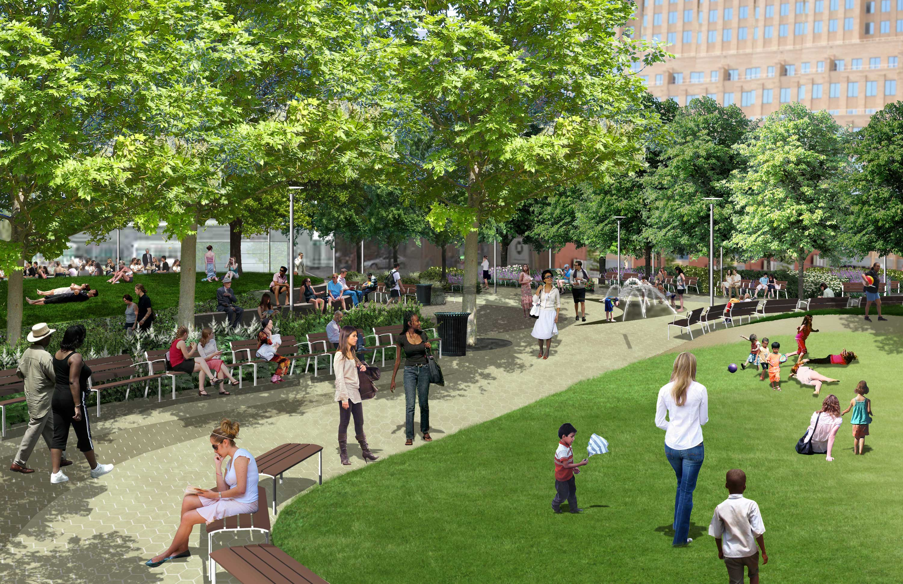 A rendering of Downtown Brooklyn's future green space, Willoughby Square. image via EDC
