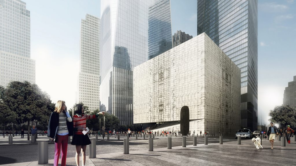 Day rendering of the Ronald O. Perelman Performing Arts Center at the World Trade Center, seen from the southeast. Rendering by LUXIGON