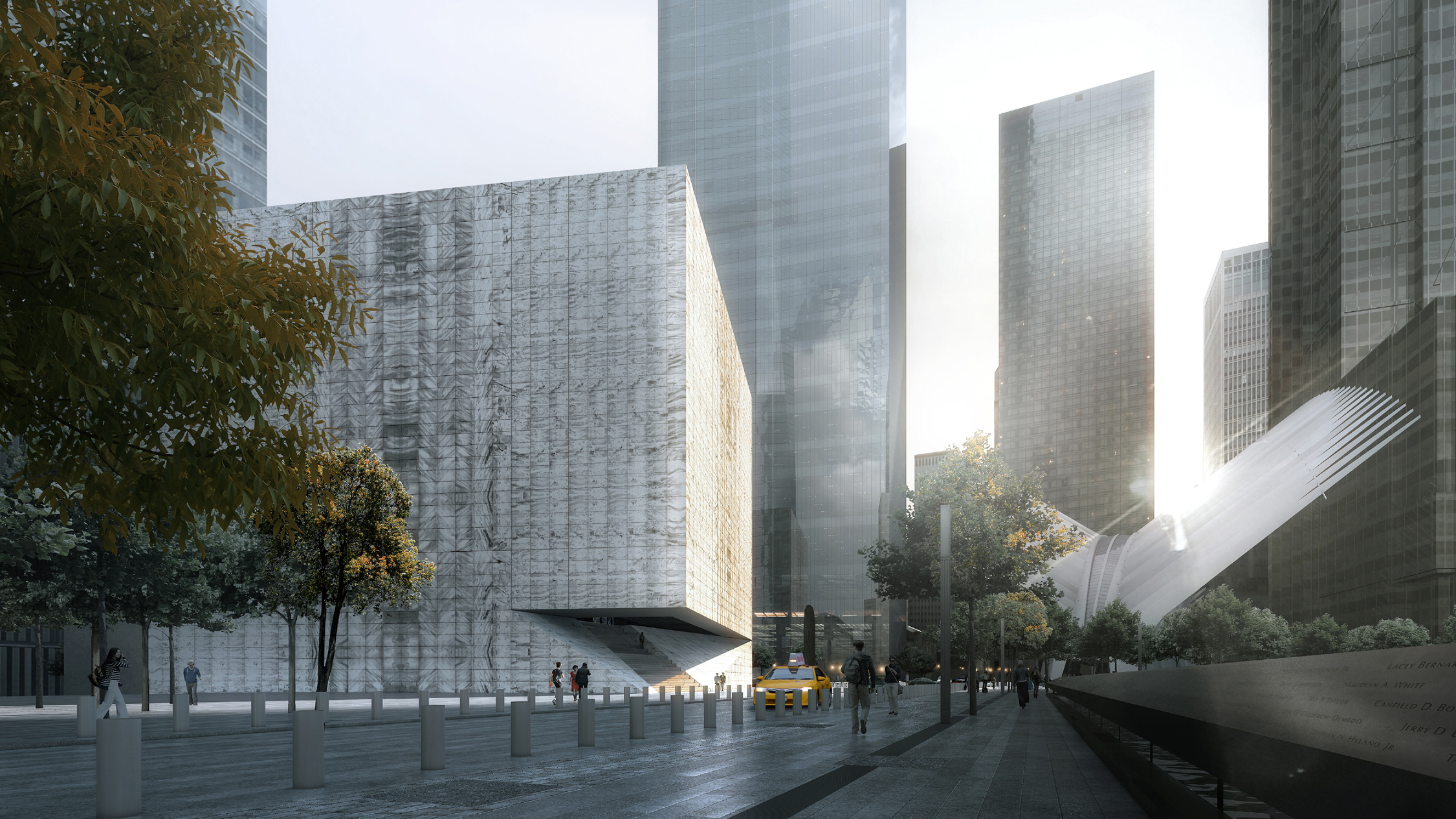 Dawn rendering, from the west, of the Ronald O. Perelman Performing Arts Center at the World Trade Center. Rendering by LUXIGON