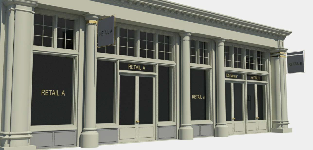 Proposed storefronts at 165 Mercer Street