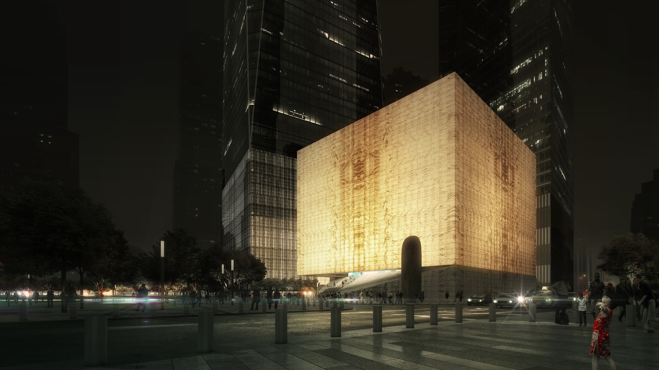 Night rendering of the Ronald O. Perelman Performing Arts Center at the World Trade Center, seen from the southeast. Rendering by REX