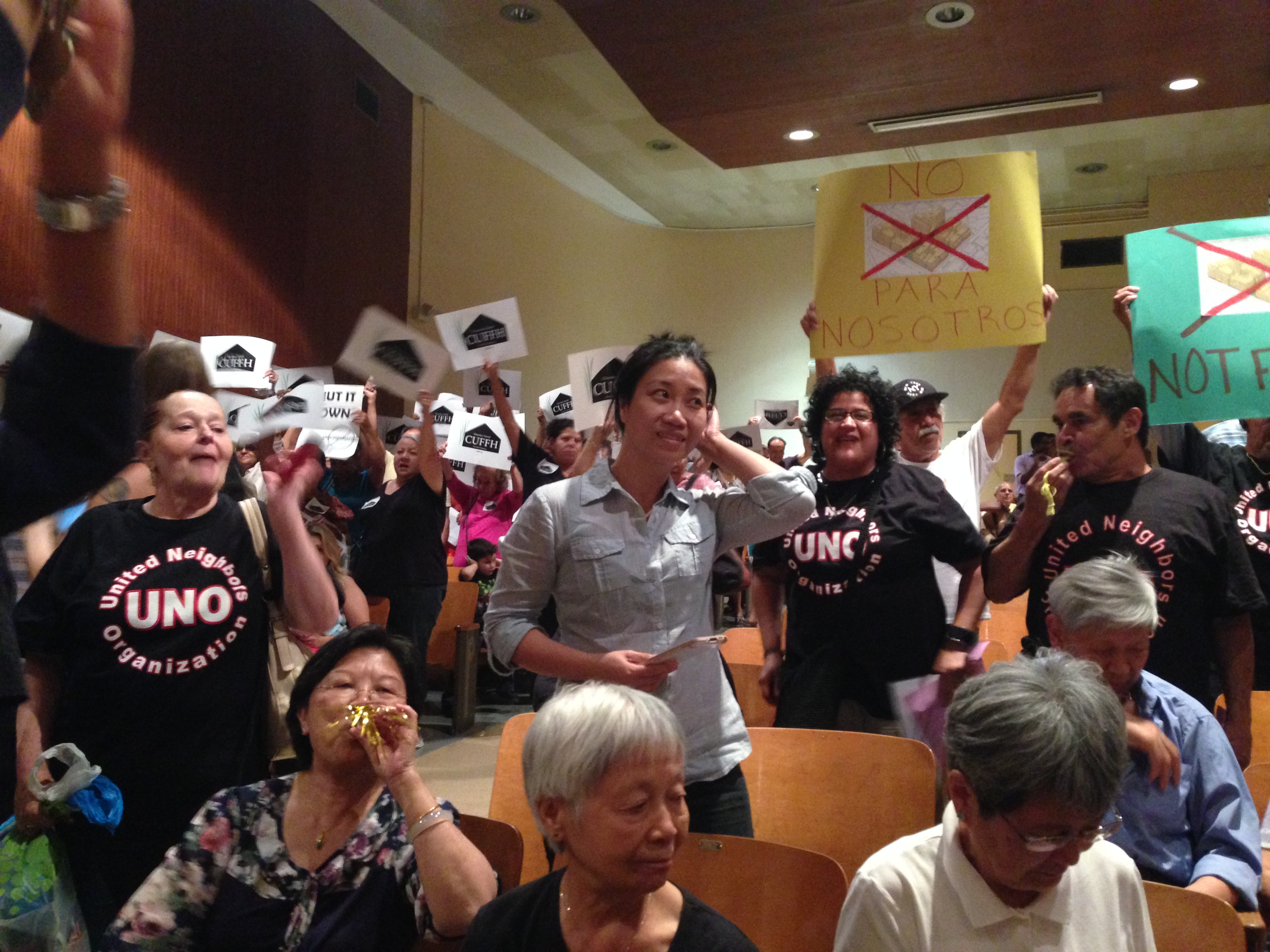 More protesters from last night's meeting.