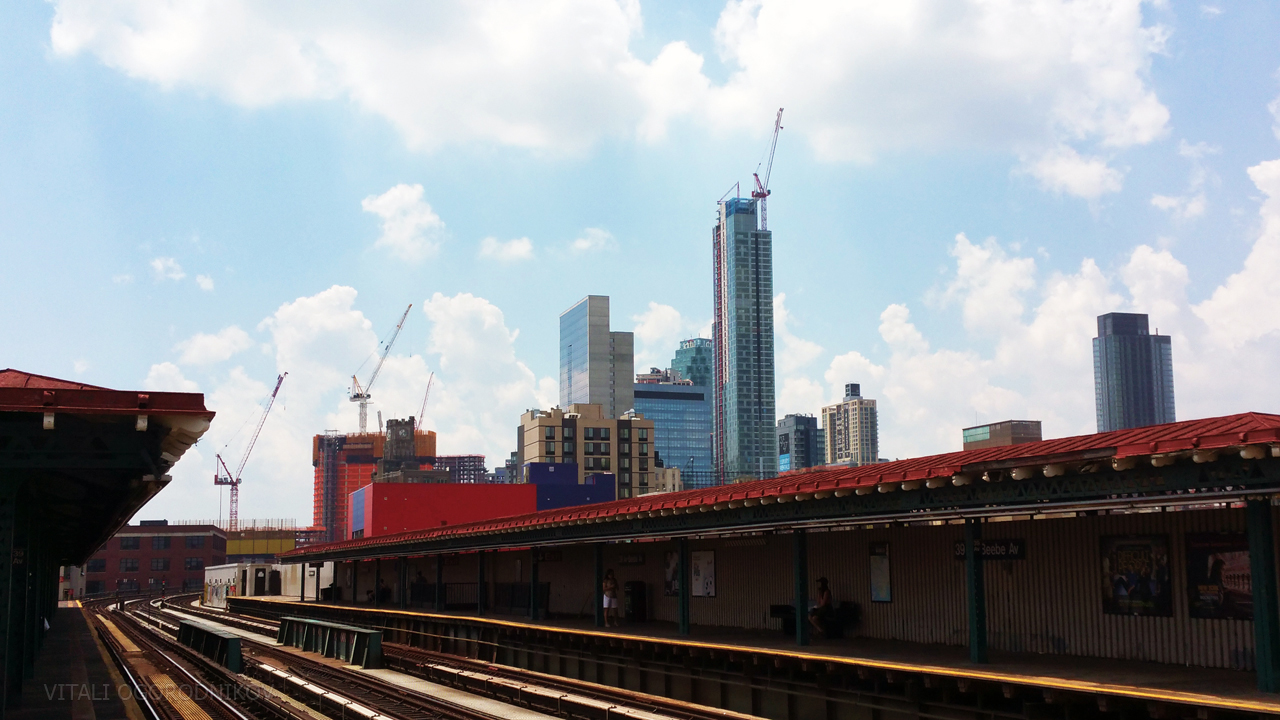 Looking southwest from 39th Av station of the N and Q train. June 2016.