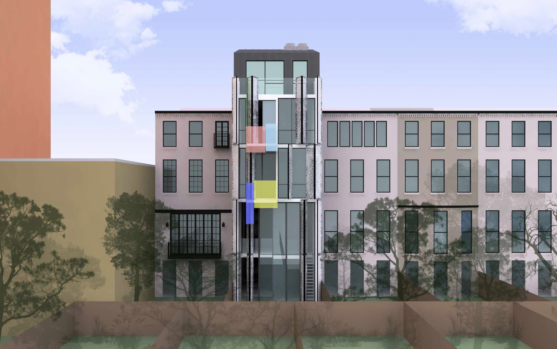 Proposed rear of 210 East 62nd Street, with screen open